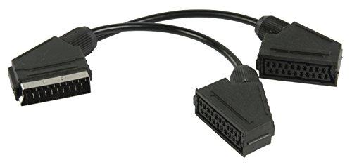 Eurosell Y Adapter Verteiler Weiche SCART-Kabel Scart-Stecker - 2X Scart Buchse Kupplung Female 0.20 m Schwarz