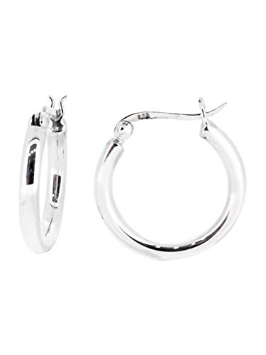 TreasureBay Trendy 4mm Bold Thick Shiny Hoop Earrings 925 Sterling Silver Hoops Earrings Gift for Women and Girls Available in Different Sizes (2 Cm)