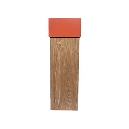 Papelera de madera con tapa abatible, cubo de basura creativo para el hogar, oficina, hotel, cesta de basura (color: naranja, tamaño: grande)