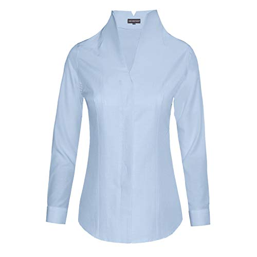HEVENTON Damen Hemdbluse mit Kelchkragen Stehkragen Langarm leicht tailliert bügelleicht 1192 Farbe Hellblau, Größe 36