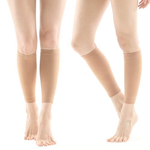 KOREA BEST BRAND_Rxtar TM 505 Medical Calf Compression Socks Sleeve (20-30mmHg) for Men & Women (Beige, S)