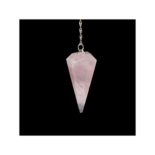 Pendulo Cuarzo Rosa Minerales y Cristales Para Curación, Belleza Energética, Meditacion, Medicina Alternativa, Amuletos Espirituales