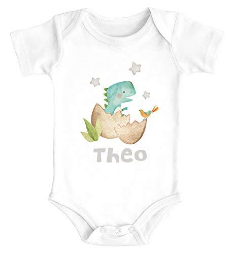 SpecialMe® Baby Body mit Namen Bedrucken Lassen Dino Print Dinosaurier Motiv Kurzarm Bio Baumwolle T-Rex weiß 0-3 Monate