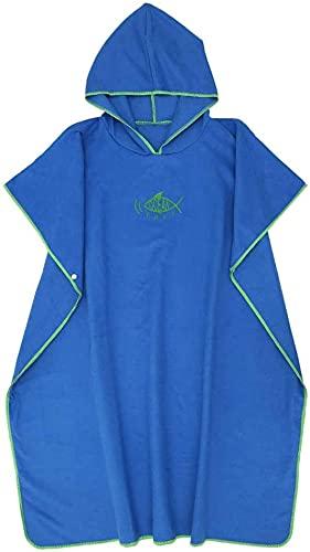 Toalla de poncho con capucha para cambiar, de secado rápido, ligera, extra larga, en microfibra, poncho de surf, universal SIize para hombres, mujeres y adultos, adecuado para natación, surf (azul)