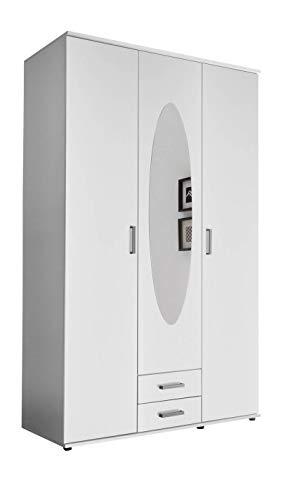 lifestyle4living Kleiderschrank mit Spiegel, Weiß, 120 cm | Drehtürenschrank 3-türig mit 2 Schubladen im klassischen Stil