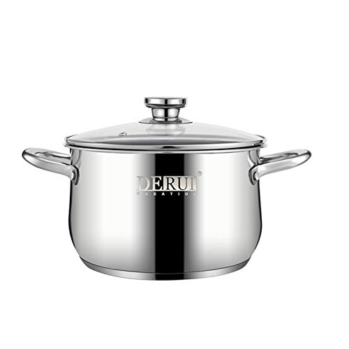"""Nonstick Stock Pots4 QT Stainless Steel Saucepot with Glass Lid Silver Antiscalding Handle Stockpot By DERUI CREATION 4QT866""""x571"""" Silver"""