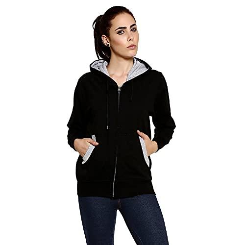 Goodtry Women's Cotton Hoodies-BlackGTWH-029-BLK-S