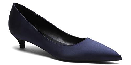 soulength High Heels Schuhe Damen 133 Bequem 3cm Kitten-Heel Satin Pumps Dunkelblau 39