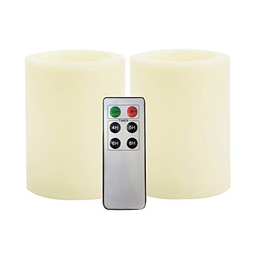 2 PCS Flameless LED Pillar Candles with Remote Control Timer Waterproof Outdoor Indoor Flickering Electric Fake Battery Operated Candle Set Bulk for Home Party Wedding Christmas Decoration 3x4 inches