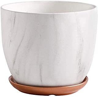Home Ceramic Planter Marbled Literary Flower Pots Indoor Large Garden Pots Planters Plant Containers Accessories with Hole...