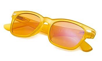 Blue Blocking Amber Glasses for Sleep-Nighttime Eyewear-Special Orange Tinted Readers-Women  Yellow Frame,+1.0