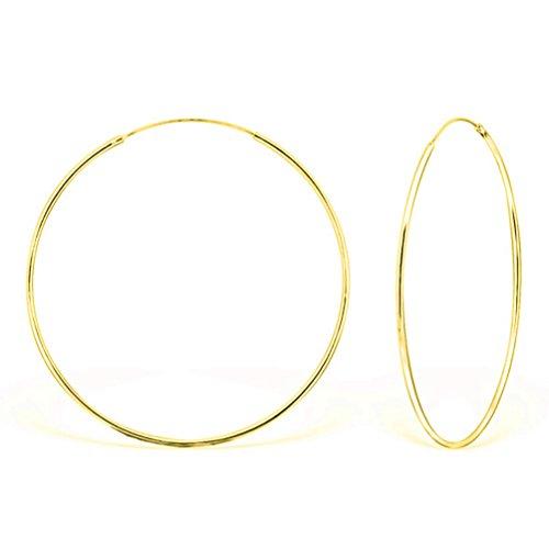 DTP Silver - Argento 925 placcato in Oro Giallo - Orecchini da donna a Cerchio - Spessore 1.5 mm - Diametro 60 mm