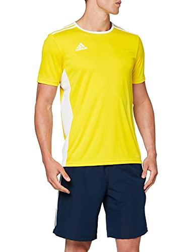 adidas Entrada 87 Camiseta de Fútbol para Hombre de Cuello Redondo en Contraste, Amarillo (Yellow/White), XL