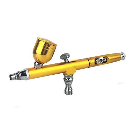 LLXNN エアブラシ エアブラシセット ダブルアクション エアフィルター付 カップ容量20cc 0.3mm 塗装 絵画 ゴールデン レッド ブラック(Golden)