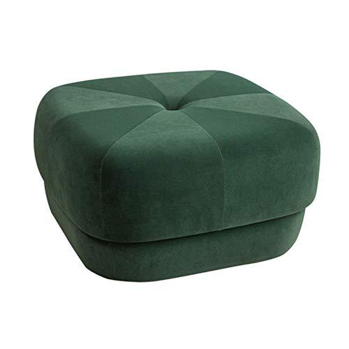 GCE Taburete para reposapiés decoración del hogar puf Cepillado Taburete otomano con mechones Suaves Cambio de Banco de Zapatos para el hogar Sala de Estar Dormitorio Verde