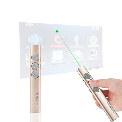 Wireless Presenter, Presentation Clicker Pointer, PowerPoint Clicker Remote with Green Light, 2.4GZ Computer Slide Advancer, Volume Control/Hyperlink/Switch Windows