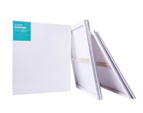 Exerz Packung mit 4 - Keilrahmen/Leinwand/Gerahmte Kunstleinwände/ 50 x 60 cm 280GSM/ Vorgespannt 100% Baumwolle/Blank/dreifach grundiert/Ohne Säure/mittelkörnig / 1.7cm dick E5309-5060-4PK