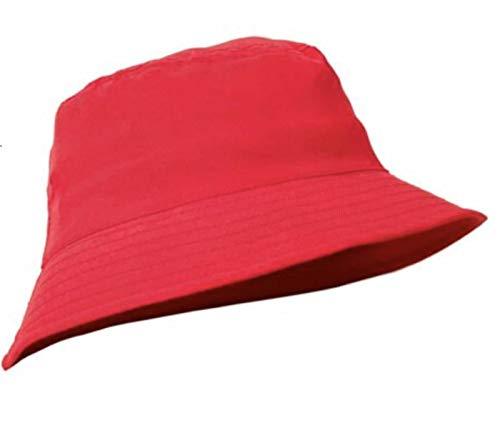 MFAZ Morefaz Ltd Unisex Fischerhüte Baumwolle Twill Bucket Hat Anglerhut Zum Wandern Camping Reisen (Red)