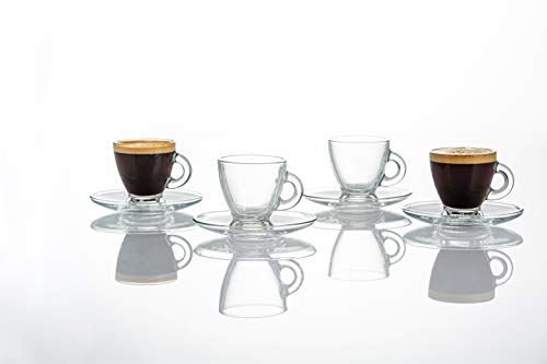 Ravenhead 0042.507 Entertain Set of 4 Glass Cup & Saucer Set | 80ML Capacity | Perfect for Espresso or Cortado Coffee, 80 milliliters
