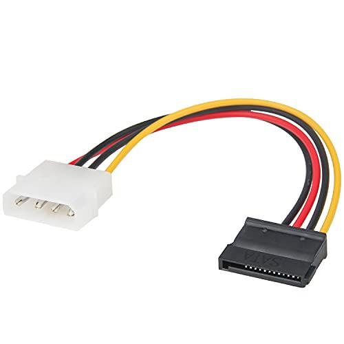 Adaptador de cable de alimentación Molex a SATA para SSD, Ancable 4 pines Molex LP4 a SATA 15 pines hembra adaptador de cable de alimentación para discos duros, SSD, DVD ROM, 17 cm