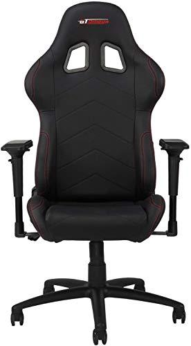 GT OMEGA PRO Racing Gaming Stuhl mit Lendenwirbelstütze - Ergonomischer PVC Leder Bürostuhl mit 4D verstellbare Armlehne & Recliner - Sportsitz für Ultimate Gaming Experience - Schwarz