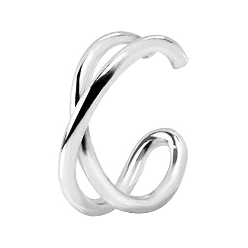 SINGULARU  - Pendiente Suelto Ear Cuff Cross Plata para Mujer Plata de Ley 925 - Joyas mujer
