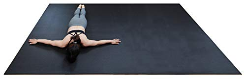 """RevTime Extra Large Exercise Mat 10 x 6 feet (120"""" x 72"""" x 1/4""""+) 7 mm Thick & High Density Mat for Home Cardio and Yoga Workouts, Durable Gym Mat, Black"""
