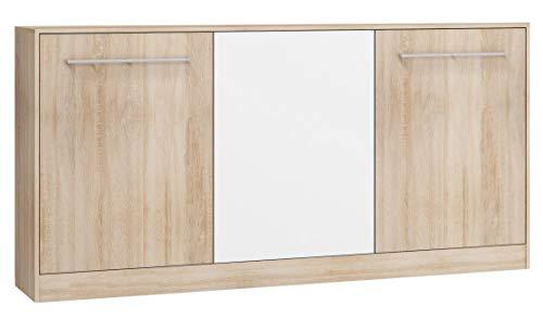 BIM Furniture Wandbett Horizontal Schrankbett Roger 90x200 cm Wandklappbett, Schrankklappbett, Schrank mit integriertem Klappbett, Funktionsbett (Sonoma Eiche/Weiss, Ohne zusätzlichen Regalen)