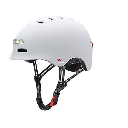 WOSAWE Casco de Skateboard, Protección de Seguridad Ajustable Casco de Bicicleta con Faro y luz Trasera de 3 Modos de Flash (Blanco M)