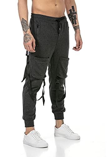 Redbridge Pantalone da Tuta Uomo Joggers Sweat-Pants Stile Cargo Grigio M