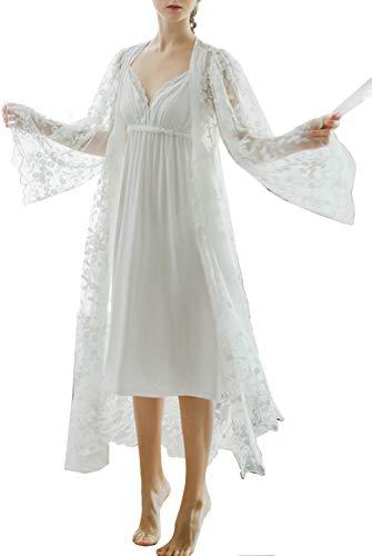 Pasen Women'S Badjas Dressing Jurk Nachtjas Wit Kant pyjama Nachtjapon Eenvoudige Stijl Perspectief Mooie Slapende Jurk pyjama Thuis Mode Comfortabele pyjama