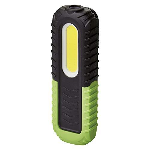 EMOS Lámpara de Trabajo LED Recargable e Impermeable con Base, Gancho e imán, 400 LM, Alcance de 40 m, batería de 2000 mAh con 8,5 Horas de duración y Cable USB, 3 Modos de luz, Negro/Verde
