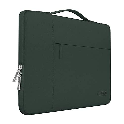 MOSISO Laptop Aktentasche Kompatibel mit MacBook Pro 16 Zoll, 15 15,4 15,6 Zoll Dell Lenovo HP Asus Acer Samsung Sony Chromebook, Polyester Multifunktion Sleeve Hülle, Mitternacht Grün