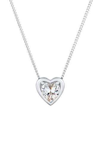 Elli Women's Love Heart Pendant Necklace 925 Sterling Silver Gold Plated with Cubic Zirconia Crystals