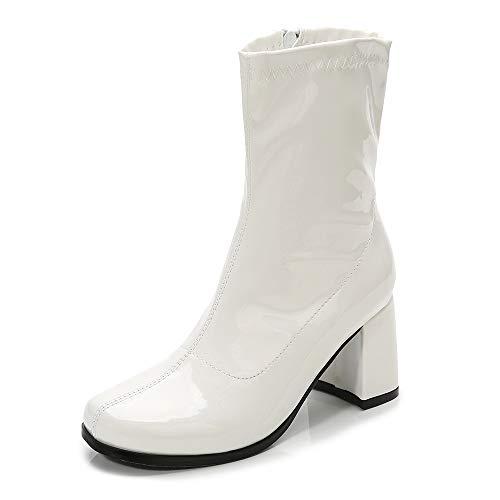 Women's Go Go Boots Mid Calf Block Heel Zipper Boot Disco Costume Winter Shoes for Women White-36(230/US7)
