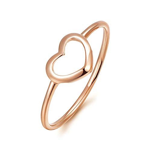 Aeici Promise Rings 18K Rose Gold Wedding Band for Women Heart Shaped 2Pcs Engagement Aniversary Rings Rose Gold Ring Size T 1/2