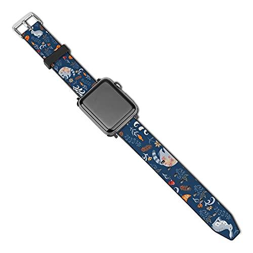 La última correa de reloj de estilo compatible con Apple Watch Band 38 mm 40 mm Correa de repuesto para iWatch Series 5/4/3/2/1, pájaros mapaches, búhos y pollito