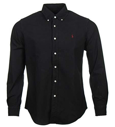 Ralph Lauren Oxford Hemd - Schwarz mit weinrotem Logo (XXL)
