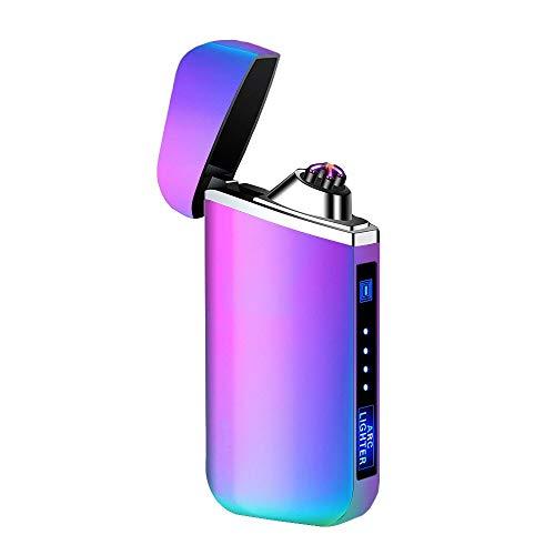 Mechero Electrico, Encendedor Electrico de Doble Arco sin Llama - Mechero Recargable Resistente al Viento (Acampada) con Cable USB, Mechero de Plasma sin Gas Colorido