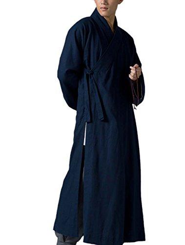 Katuo - Abito tradizionale da meditazione buddista, da uomo, colore: blu scuro Blu L
