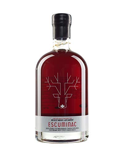 Award Winning Escuminac Late Harvest Maple Syrup 16.9 fl oz (500ml) Canada Grade A - Dark Robust Taste (Formerly Maple Syrup Grade B) – Unblended, Pure, Organic, Single Forest - A perfect sweet gift.