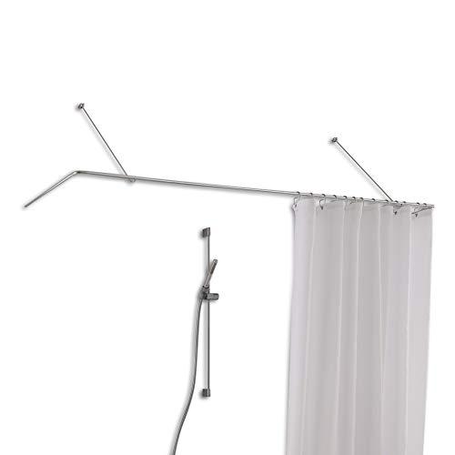 PHOS Edelstahl Design, DSU1700-750W, Duschvorhangstange U-Form für Badewannen aus Edelstahl, 170 x 75 cm, Wandabhängung mit Vorbeiziehfunktion, Duschvorhangstange U, Winkel-Stange zur Wandmontage