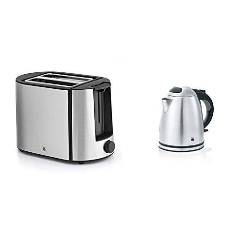 WMF Bueno Pro Toaster Edelstahl, 2 Scheiben, 6 Bräunungsstufen, 870 W, edelstahl matt & Stelio Wasserkocher Edelstahl 1,2l, elektrischer Wasserkocher mit Kalk-Wasserfilter, 2400 W, edelstahl matt
