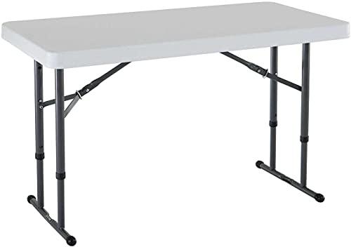 Commercial Height Adjustable Folding Utility Table, 4 Feet, White Granite