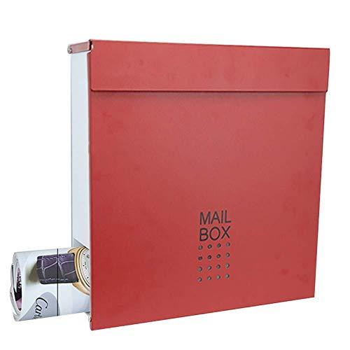Buzón de muebles Buzón Buzón Post Box metal for el hogar Hierro arte al aire libre con bloqueo de archivo Buzón de sugerencias revista (color: Negro 2, tamaño: 37.3 * 36.5) Caja de sugerencias