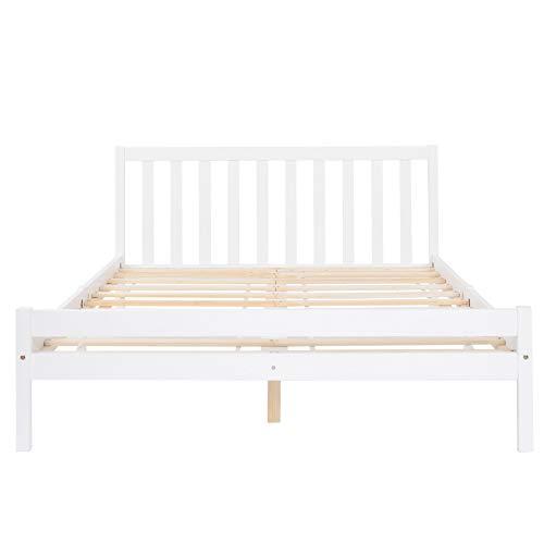 PovKeever - Marco de cama de madera, cama de matrimonio, marco de cama de madera maciza, muebles de dormitorio para adultos, niños, adolescentes, 135 x 190 cm (blanco)