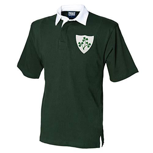 Herren Vintage Bestickt Irische Wappen kurz Sleeve Irish Rugby Shirt aus Print Me A Shirt in Flasche Grün/Weiß Gr. Medium, Bottle-Green-and-White