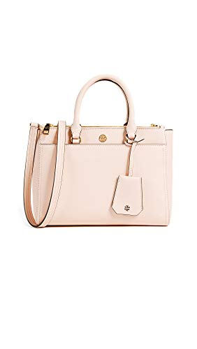 Tory Burch Women's Robinson Small Double Zip Tote, Pale Apricot/Royal Navy, Pink, One Size