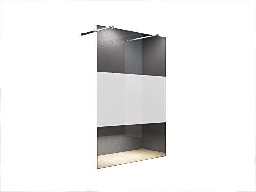 Freistehende 120x200 cm Duschabtrennung LILY Frost-Mitte mit Eckiger Haltestange, Milchglas, Klarglas, Duschwand, Walk-In Dusche, 10 mm ESG Sicherheitsglas