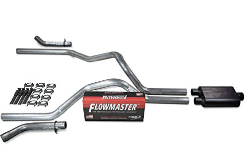 Truck Exhaust Kits - Shop Line dual exhaust system 2.5' Aluminized pipe Flowmaster Super 44 Muffler 2.5' With Corner Exit for Silverado, Sierra, F-Series,& Ram